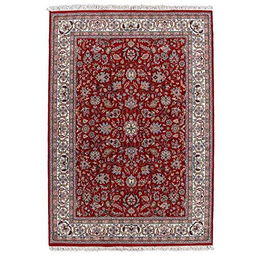 Klassischer Orientteppich Benares aus Schurwolle | Isfahan Muster | handgeknüpft | 40 x 60 cm | rot | ca. 310 000 Florfäden | THEKO die markenteppiche