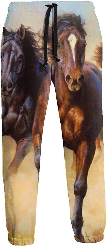 Mens Elastic Waist Sweatpants Galloping Wild Horese Joggers Sweatpants for Gym Training Sport Pants