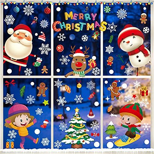 Joyoldelf Weihnachtsdeko Fenster,Fensterbilder Weihnachten Selbstklebend,Fensterdeko Schneeflocken Deko,Winter-Deko Schneeflocken Fensterbild,Netter Weihnachtsmann