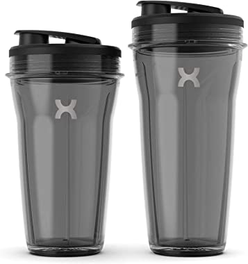 PROMiXX MiiXR X7 Personal Blender for Shakes and Smoothies - 8 Piece Set - with Performance Nutrition Protein Mixer X-Blade a