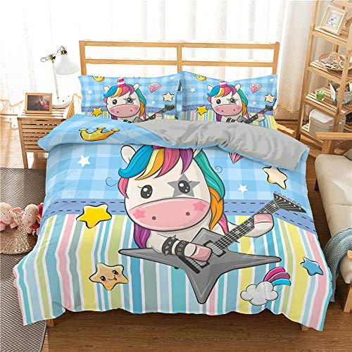 DJINGSN Girl Boy Kid Cartoon Unicorn Bedding Set Adult Child Quilt/Duvet Cover Set Twin Full Queen King Bed Cover Bedclothes