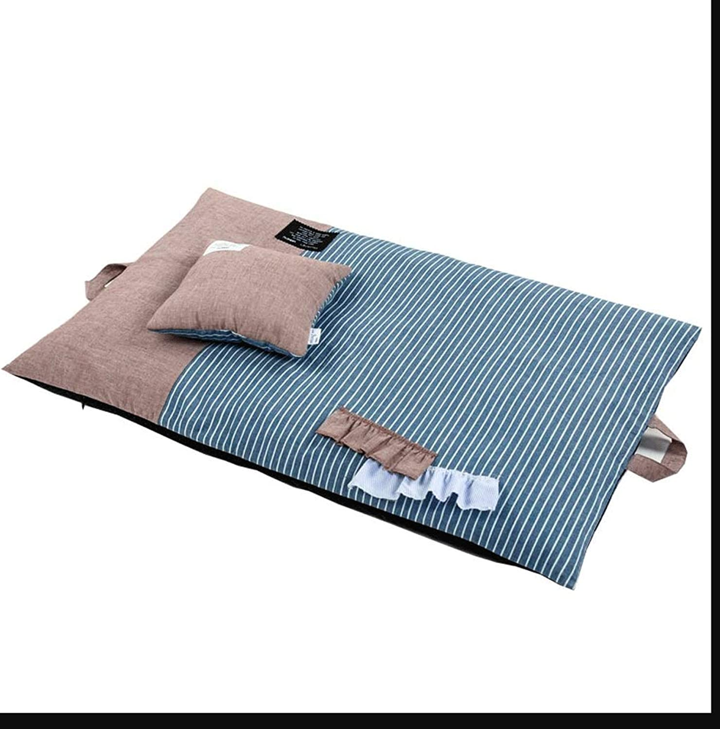 Hongyan Pet Beds Square Foldable bluee Striped Pet Nest Fully Removable And Washable Four Seasons Universal gold Hair Keji Sleeping Mat Pet Bed A+ (color   BROWN, Size   S (79x50CM))