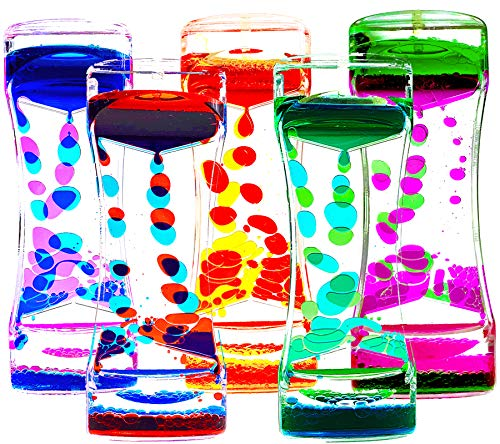 FKYTION Liquid Motion Bubbler Timer Pack of 5 Colorful Hourglass Liquid Bubbler ADHD Fidget Toy...