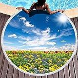 dudifeng Strandtuch, rund, Strandtuch, Decke, übergroße Strandtücher mit Quasten, Blumenbeet, bunte Blumen über blauem Himmel, Strandtücher für Frauen, geeignet für Strand Pool im Freien (152,4 cm)
