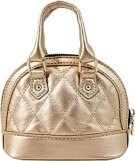 Milya Damen Mädchen Mini Handtasche Leder Abendtasche Kleine Umhängetasche Henkeltasche Clutch mit Kette (Gold)