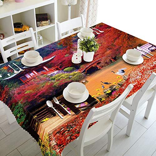 Otoño Hojas Rojas Casa Puente De Madera Lago Paisaje Hule Mantel Cuadrado Limpiar Rectangular Mantel Impermeable para Jardín Cocina Impresión Exterior O Interior