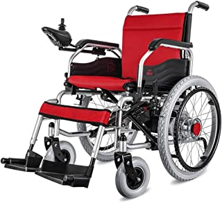 HWZLOIK Wheelchair,Electric Wheelchair Lightweight Folding Belt Toilet Old Cart Trolley Elderly Scooter Automatic Intelligent, Alloy