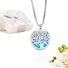 Essential Oil Diffuser Aromatherapy Necklace,Stainless Steel Magnetic Pendant Locket Necklaces with 26