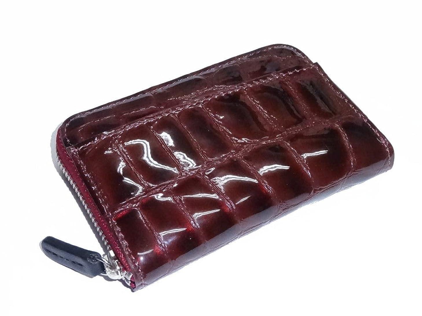 労働道徳教育パイル475 コインケース 牛革エナメル クロコダイル型押  小銭入 ラウンドファスナー