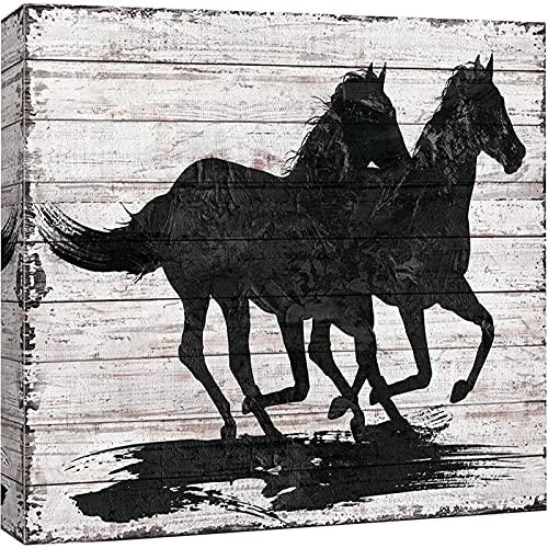Lienzo para pared, dos caballos al galope, animales, vida silvestre, paneles de madera, rústico, en blanco y negro, para sala de estar, dormitorio, oficina (con marco)