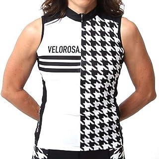 Velorosa Women`s Sleeveless Bike Jersey with Pockets, Ladies Cycling Zipper Vest Black White Print