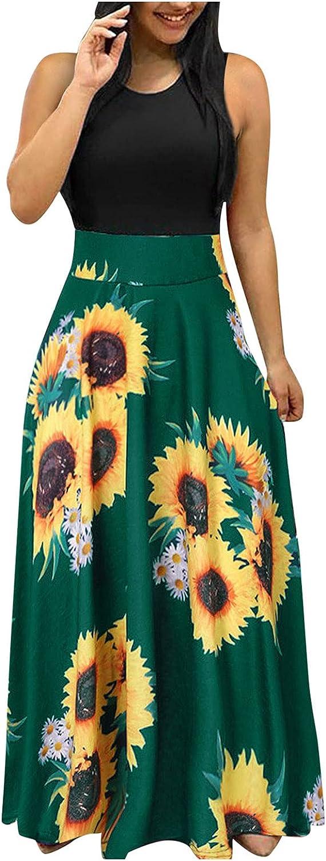AHBG Women Summer Short Sleeve Independe Print Sundress Casual Swing Dress Maxi Dress