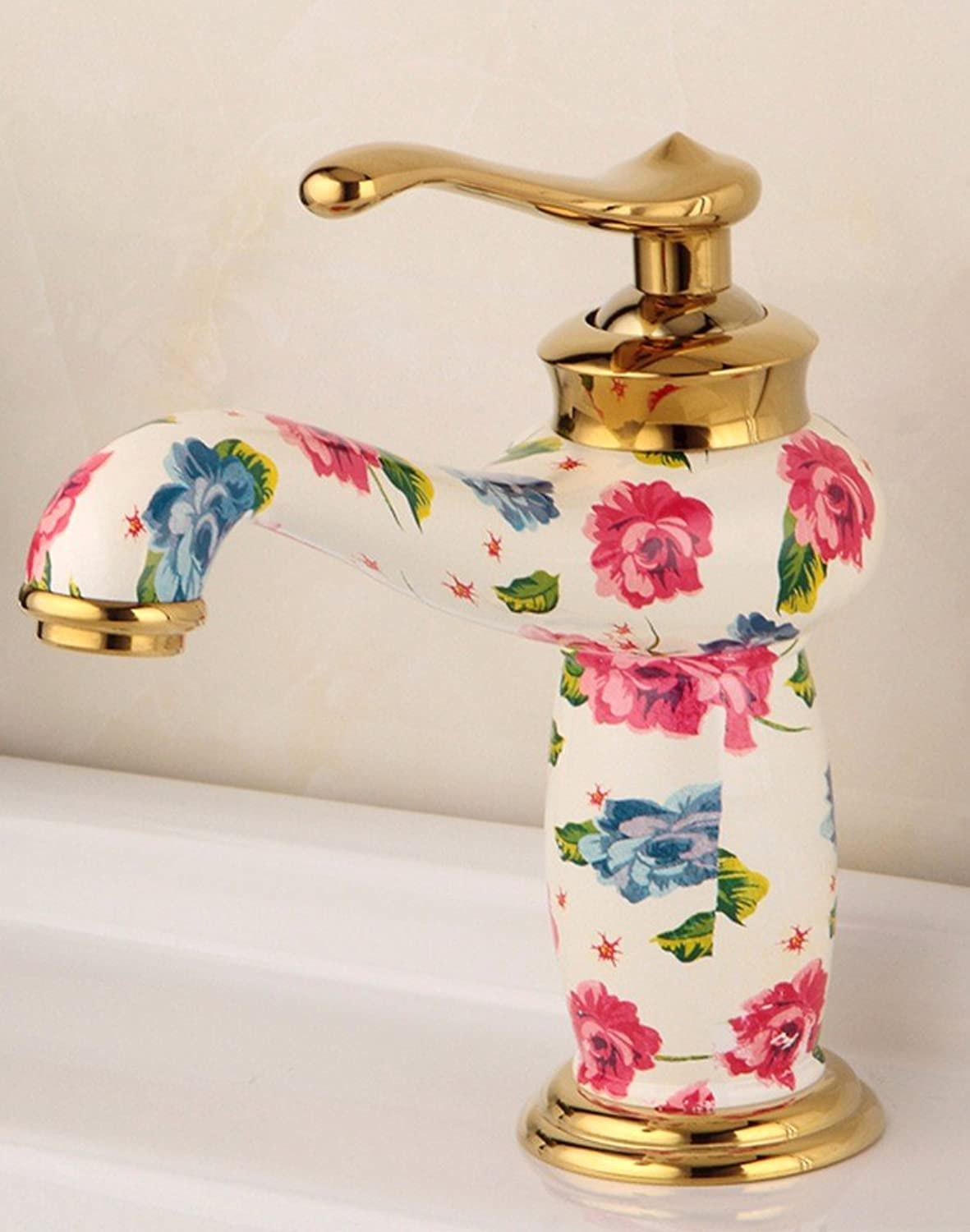 LHbox Basin Mixer Tap Bathroom Sink Faucet European retro style, copper basin, plus high, hot and cold water faucet 11