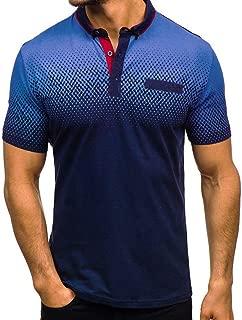 Men's Gradient Slim Fit Work T-Shirt Casual Fashion Lapel Short Sleeve Shirt