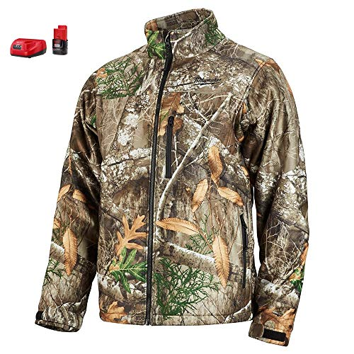 Milwaukee Heated Jacket KIT M12 12V Lithium-Ion Front and Back Heat Zones - Battery and Charger Included - (Medium, Realtree Camo)