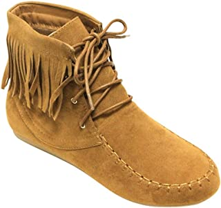 Forever Candice-21 Women's Almond Toe lace up Tassel Decor Fringe Moccasin Flat Suede Ankle Boots