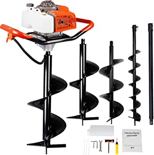 ECO LLC 63CC Heavy Duty Gas Powered Post Hole Digger with 3pcs Earth Auger Drill Bits (6