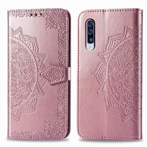Bear Village Hülle für Galaxy A90 5G, PU Lederhülle Handyhülle für Samsung Galaxy A90 5G, Brieftasche Kratzfestes Magnet Handytasche mit Kartenfach, Roségold