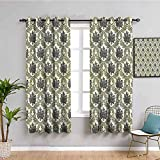Damasco Decor Collection Cortina de ventana Vintage Floral Damasco Brocado con Ramo Abstracto, Estampado de ilustraciones Traer Belleza Verde Beige W42 x L63 pulgadas