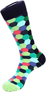 Colored HoneycombCrew Sock Fits Size 8 to 13 Lime/Lavendar/Coral/Blue
