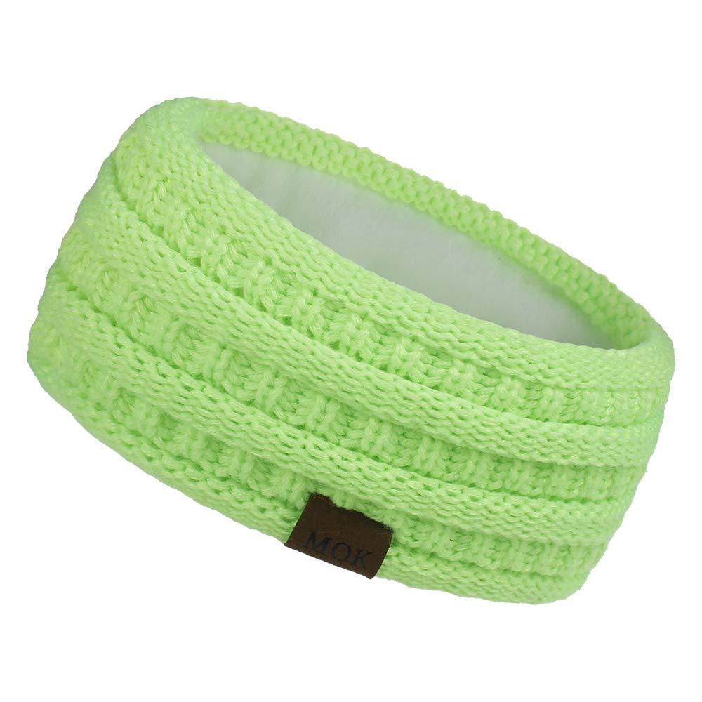 LYMDY Warm Hair Accessories Soft Stretch Head Wrap Fleece Lined Knit Hair Band Ear Warmer Headbands for Women(Fluorescent yellow)