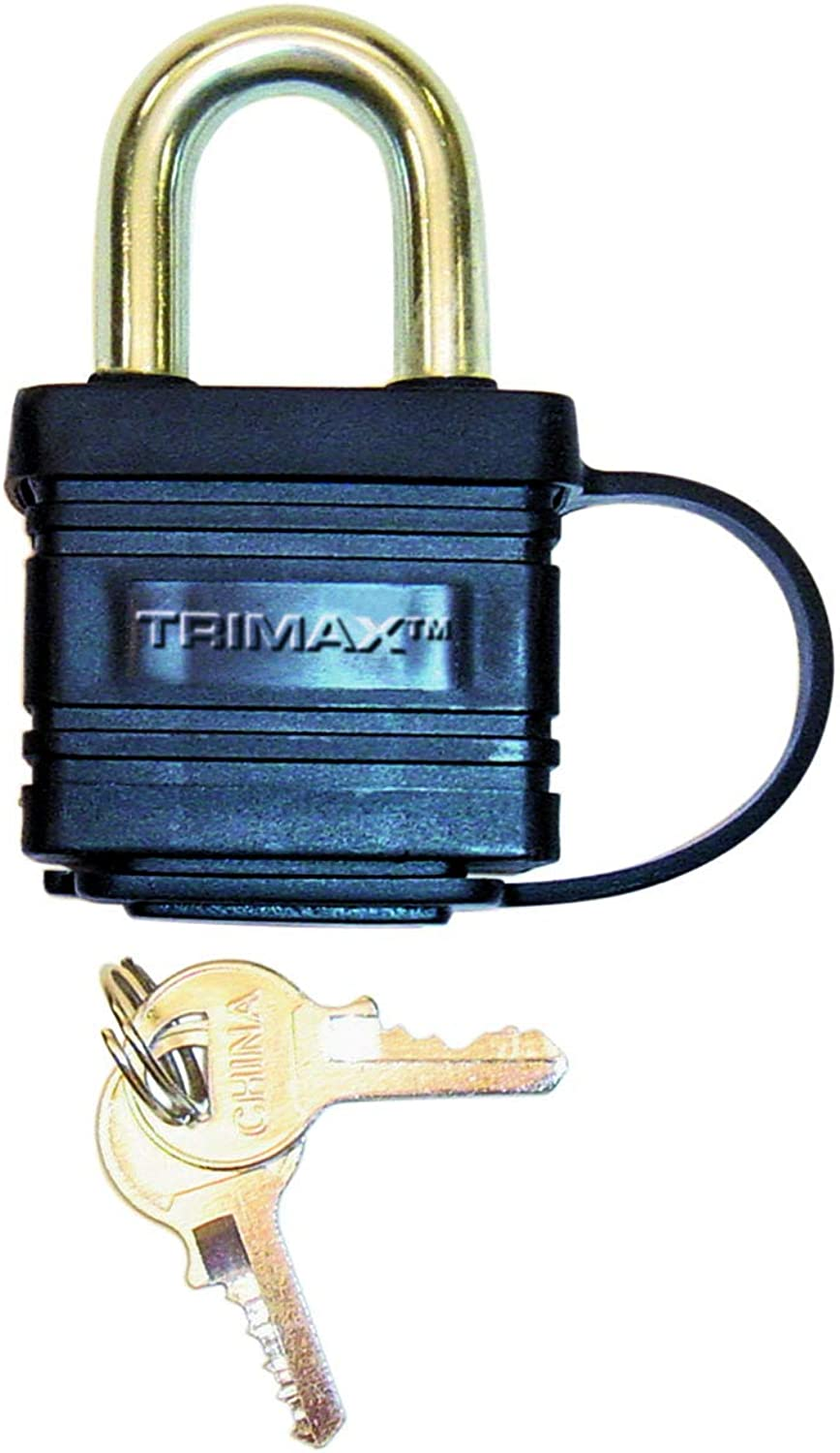 Trimax TPW1125 Weather Proof Laminated Solid Steel Body - Dual Locking 1-1 8  x 5 16  Shackle