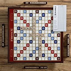 in budget affordable Scrabble Giant Deluxe Edition with rotating wooden boards