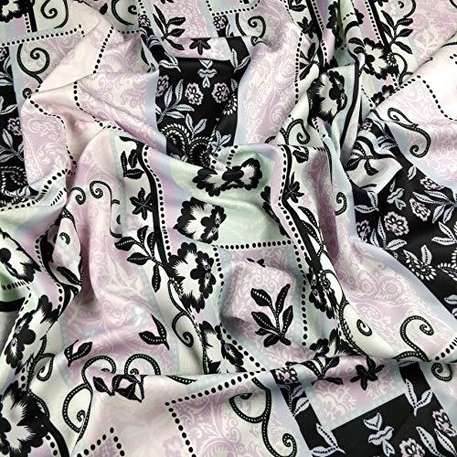 Fabric Styles FS309 Lilac Paisley Floral Fliesendruck Jersey Scuba Stretch Stoff – Meterware
