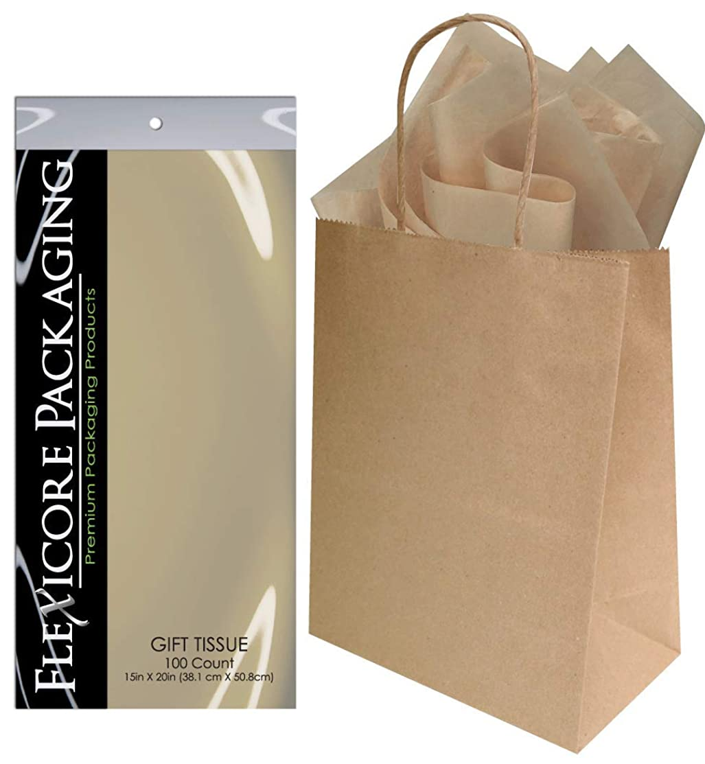 Flexicore Packaging? 50ct Natural Brown Kraft Paper Gift Bags + 100ct Gift Tissue Paper (Parchment Tan)