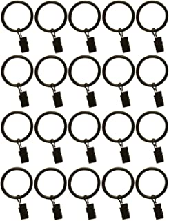 TEJATAN 1.5-inch Metal Curtain Rings with Clips and Eyelets (20, Black)