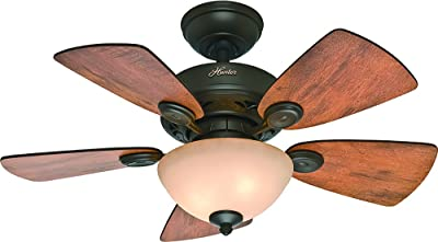 Hunter 52090 Watson Indoor Ceiling Fan with LED Light and Pull Chain Control, 34-inch, New Bronze