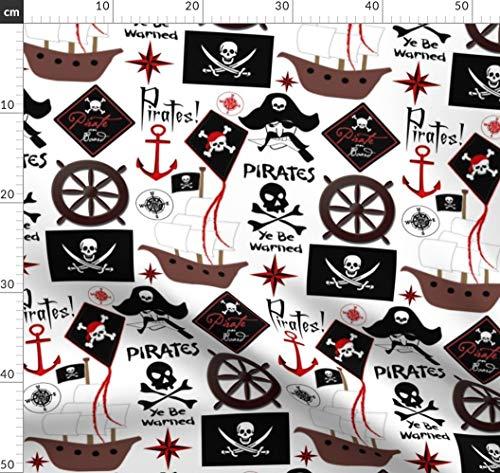 Pirat, Piraten, Piratenschiff, Anker, Schiff, Segel, Segeln Stoffe - Individuell Bedruckt von Spoonflower - Design von Bluevelvet Gedruckt auf Baumwollstoff Klassik