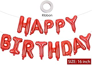 Red Happy Birthday Banner Balloons, 16 Inch Mylar Foil Letters Balloons Banner Reusable Ecofriendly Materialfor Birthday Decorations and Party Supplies(with Ribbon)