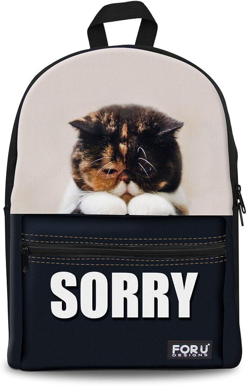 Bigcardesigns Cute Animal Sorry Cat Backpack Teen Book Bag Back to School