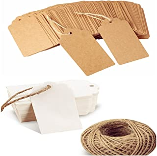 200PCS Blank Kraft Gift Tags with Twine String for Packing and Art Craft (1.83.7inch/4.59.5cm)