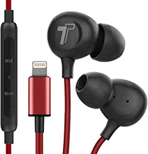 Thore iPhone Earphones (V60) Wired in Ear Lightning Earbuds (Apple MFi Certified) Headphones with Microphone Remote for iPhone 11/Pro Max/SE/Xr/Xs Max/X/8/7, Red (Retail Packaging)