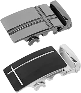 F Fityle 2pcs Metal Automatic Lock Ratchet Buckle Black Leather Belt Buckle 4cm Width