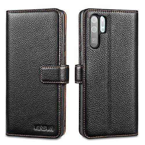 LENSUN Echtleder Hülle für Huawei P30 Pro, Leder Handyhülle Kartenfächer Handytasche Lederhülle kompatibel mit Huawei P30 Pro New Edition– Schwarz(P30P-LG-BK)