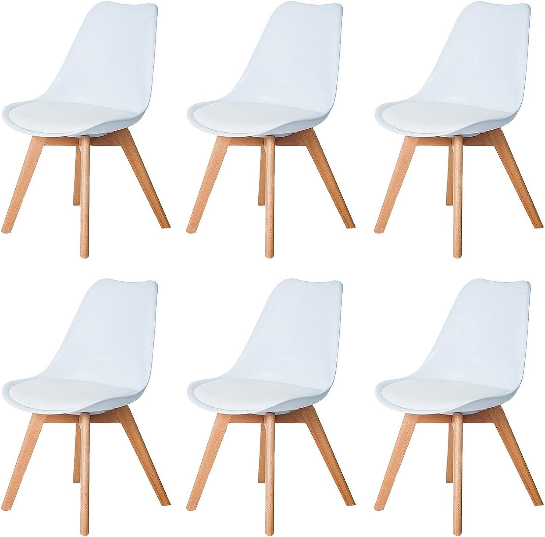 DORAFAIR 6 x Skandinavischen Retro Design Gepolsterter lStuhl Kunststoff PP Esszimmerstühle,mit Massivholz Buche Bein,Wei