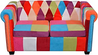 Tidyard Chesterfield Loveseat, 2 Seater Sofa Futon Couch Living Room Furniture Fabric
