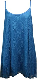 21FASHION Ladies Floral Lace Camisole Strappy Swing Dress Womens Fancy Sleeveless Vest Top Medium/4X Large
