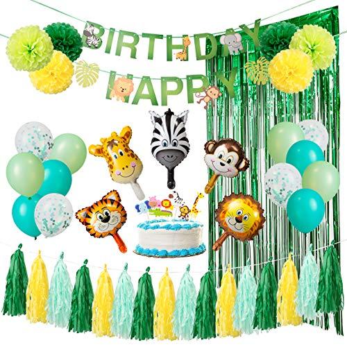 Kesote 誕生日 バルーン 風船 HAPPY BIRTHDAY 動物系 61点豪華飾り付け ガーランド ケーキトッパー ポンポ...