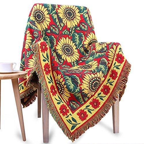 Kitchnexus Vielseitig Sofadecke Baumwolle Wohndecke Schlafdecke Bettdecke Tagesdecke Strickdecke TV-Decke Picknickdecke Sonnenblume Geblümte Weiche Und Warm