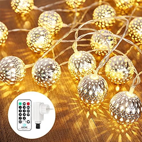Qedertek LED Lichterkette innen Strombetrieben mit 30 Marokkanischen Silber Kugeln, 9M Lichterkette Steckdose, Orientalisch Lampe Warmweiß, Lichterketten für zimmer, Hochzeit, Herbst Deko