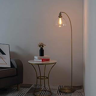 KOSILUM - Grand lampadaire vintage en verre et laiton - Flavia - Lumière Blanc Chaud Eclairage Salon Chambre Cuisine Coulo...