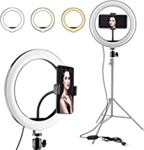 Ring Light with Phone Holder, 10.24 Inch Ring Light Three Color Modes and 10 Brightness Levels for Photography and Recording Videos, Cell Phone Selfie Ring Light Indoor or Outdoor Lighting