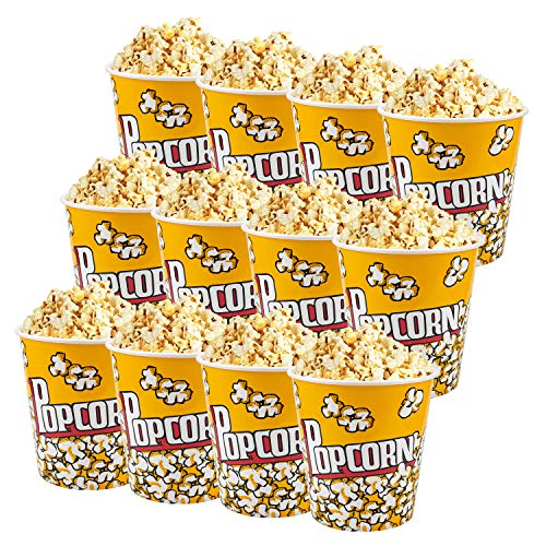 Tebery 12 Pack Plastic Popcorn Containers Reusable Popcorn Bucket Tub for Movie Night - 7 x 7 Inches
