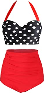 Womens Retro Vintage Polka Underwire High Waisted Swimsuit