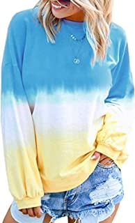 Eternatastic Women Long Sleeve Round Neck Sweatshirt Tie Dye Print Pullover Loose Tunic Shirts Blouse Tops