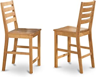 East West Furniture CFS-OAK-W Counter Height Chair Set with Wood Seat,